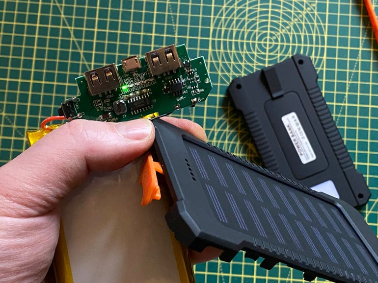 The solar cell does work, but it would take days to charge up the power bank