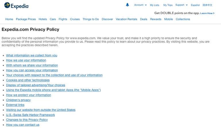 Expedia privacy GDPR