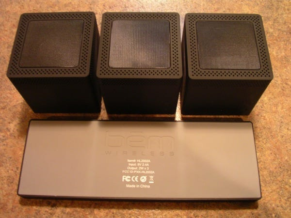 Top of the speakers and bottom of the charging platform