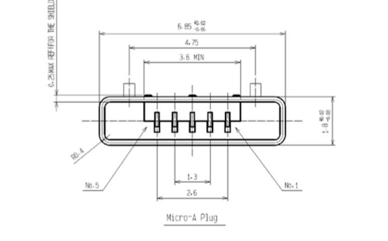 A Micro USB plug measures a svelte 6.85mm x 1.8mm