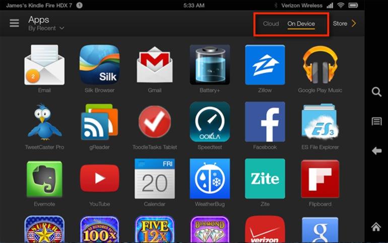Fire OS apps screen