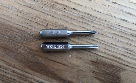 Phillips size 00 and Torx T6 bits