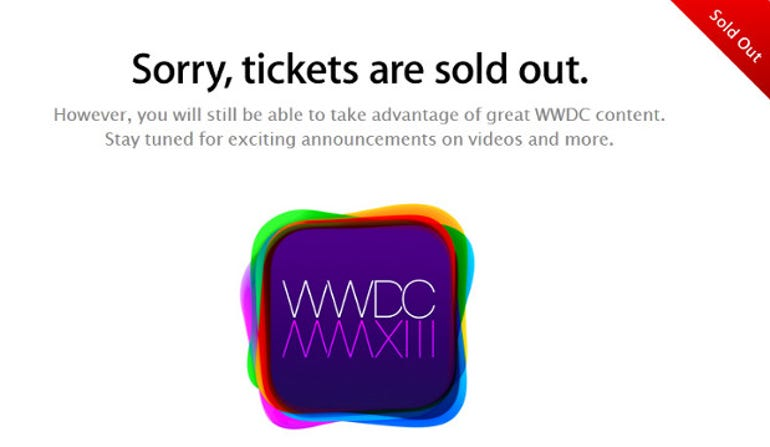 Apple's website shows the WWDC event is sold out already