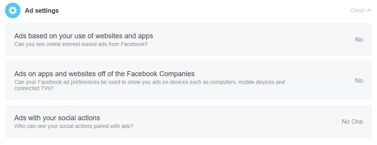 Facebook ad settings