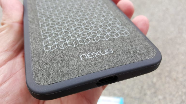Lower back of the Google Nexus 6P case