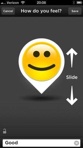 You can enter mood information with a slick slider control option