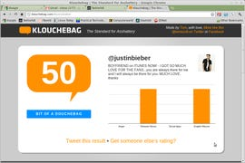 Justin Bieber has a perfect Klout score, but on Klouchebag he is a bit of a douchebag.