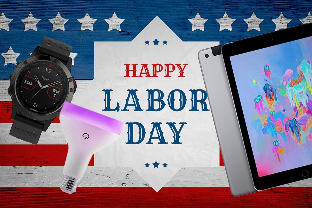 Happy Labor Day greeting banner, usa flag
