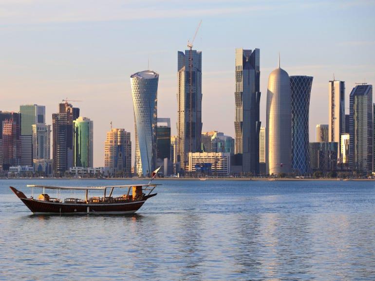 The skyline of Doha, the capital of Qatar