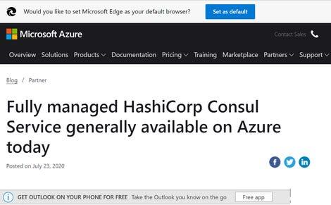 Vraag op de Azure-site om uw standaardbrowser en een advertentie voor mobiel Outlook in desktop-Outlook te wijzigen