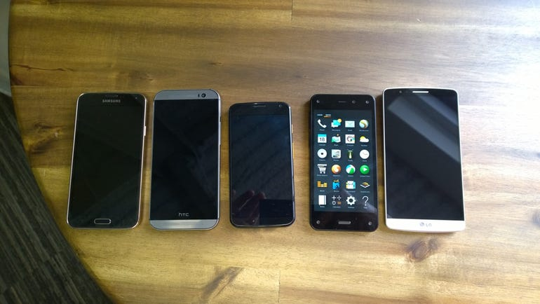 Front of Galaxy S5, HTC One (M8), Moto X, Amazon Fire, LG G3