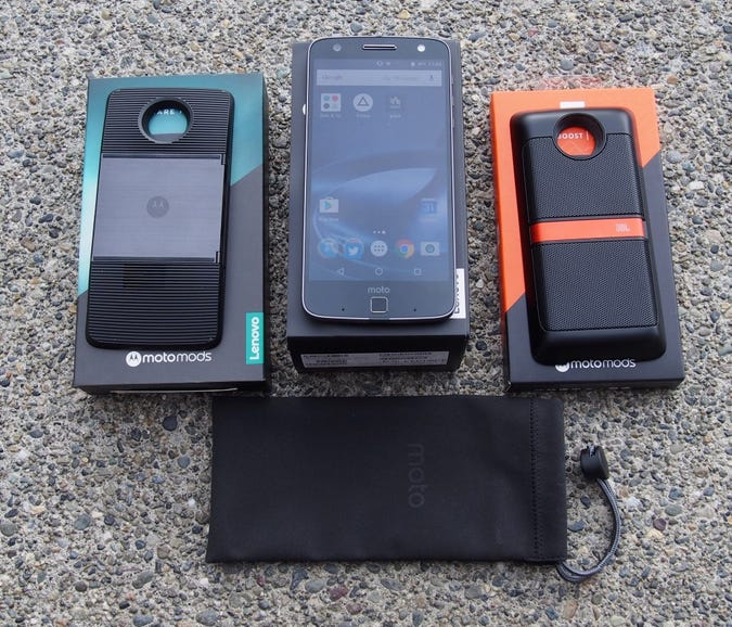 Verizon Moto Z Force Droid and two Moto Mods