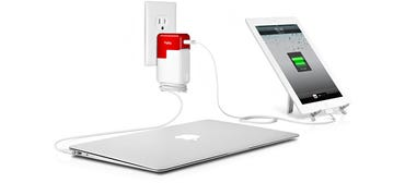 PlugBug is a 10W USB wall charger that piggybacks onto your MacBook Power adapter