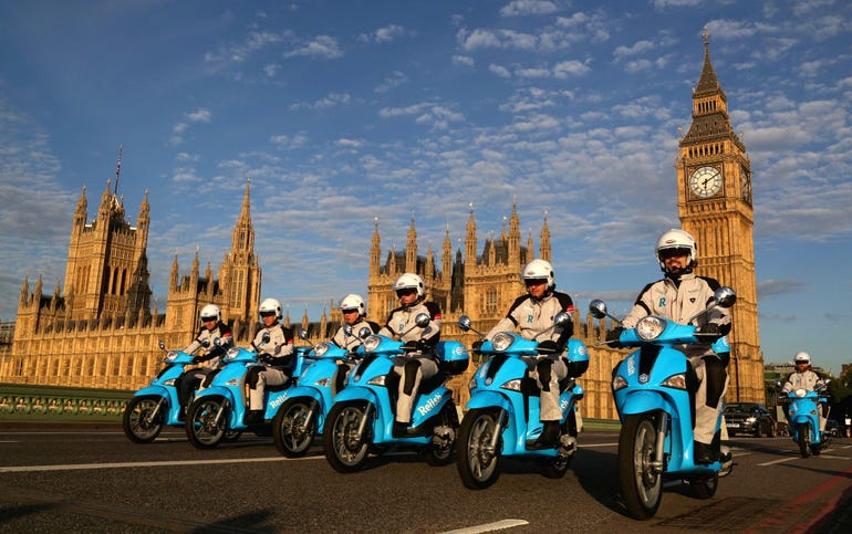 RelishRescue scooters ride over Westminster Bridge in London to launch Relish
