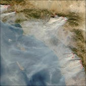 California wildfire image from space, via Texas A&M