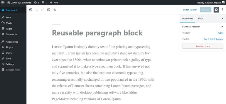 And one more thing about 'reusable blocks'