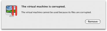 Parallels: The virtual machine cannot be used because its files are corrupted