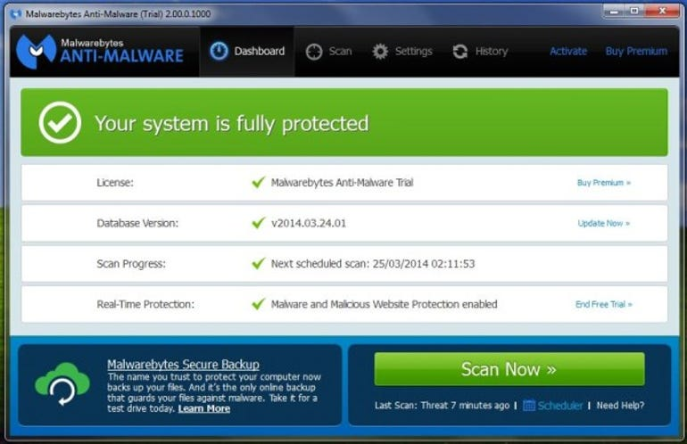 Malwarebytes Premium dashboard