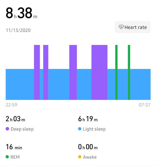 Sleep tracking results in the Zepp smartphone app