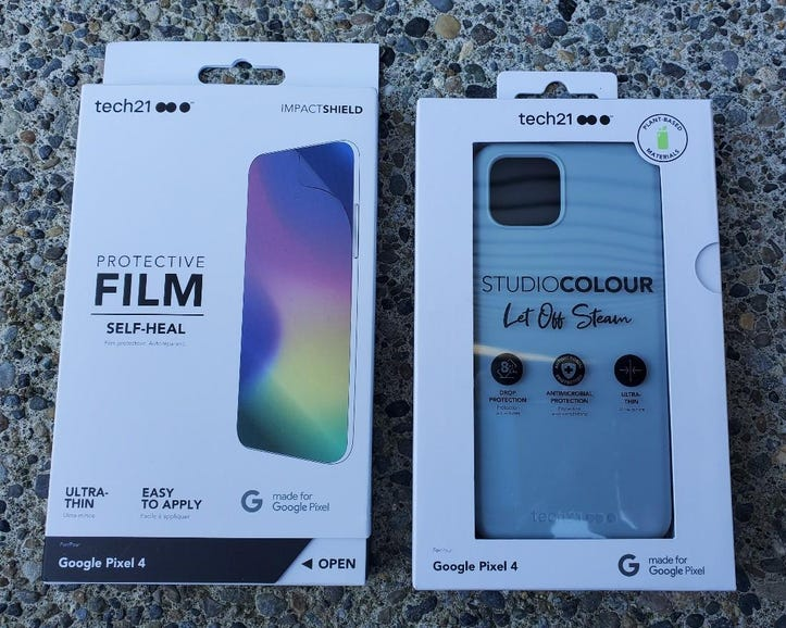 Tech21 screen protector and Studio Colour case for the Pixel 4