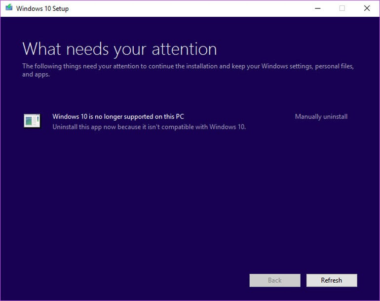 Windows 10 is no longer supported - error message