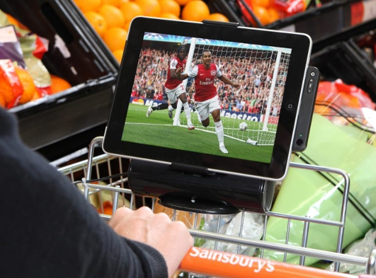 The iPad trolleys come fitted with tilting iPad holder and speakers