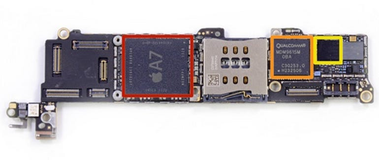 A mainboard from an iPhone 5s