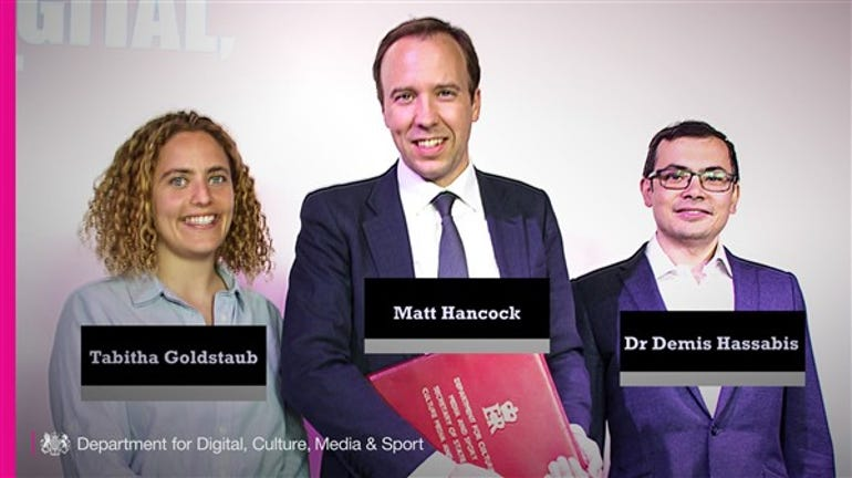 Tabitha Goldstaub, Matt Hancock and Demis Hassabis