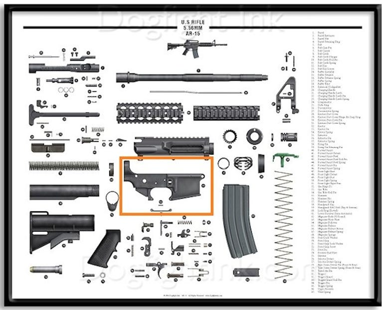 The printed part is just one of more than 70 parts needed to build a gun