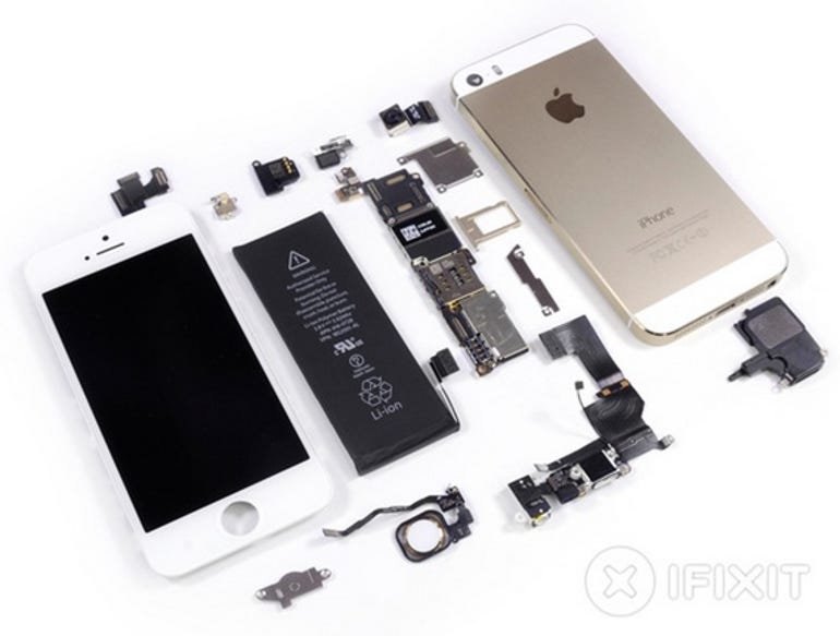 Fully disassembled iPhone 5s