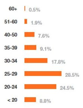 Chart of developers by age...