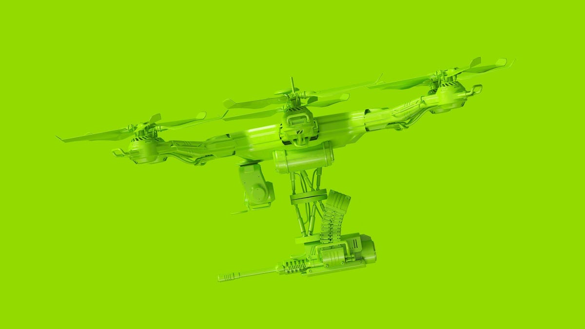 Large Lime Green Unmanned Aerial Vehicle Drone with a Machine Gun