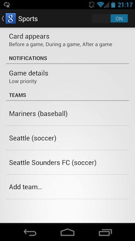 Google adds favorite sports teams and movies to Google Now for Jelly Bean users