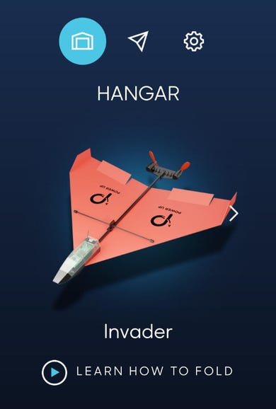 Default Invader plane and smartphone app main interface