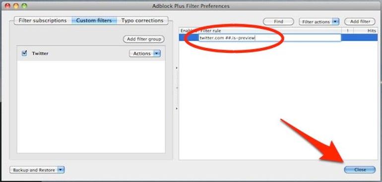 Firefox Twitter Filter code