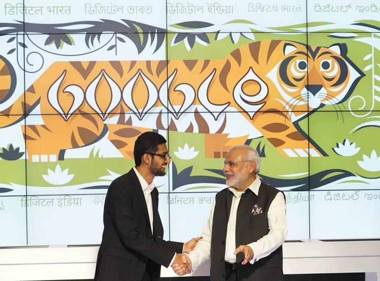 Sundar Pichai and India's prime minister Narendra Modi