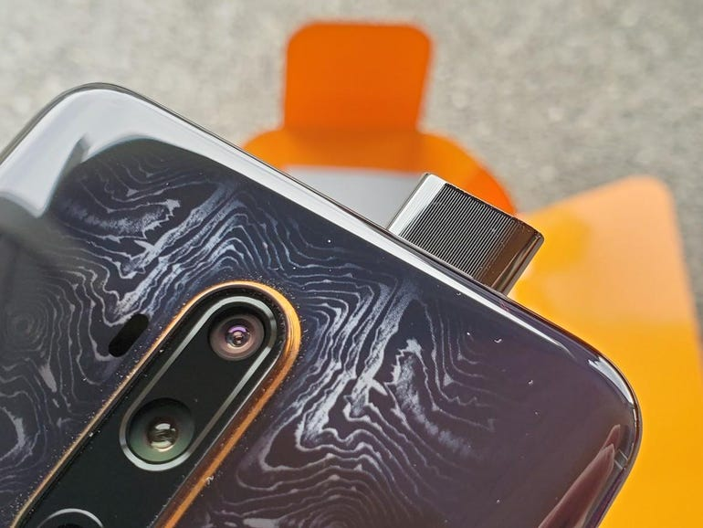 Front-facing camera extends from the top
