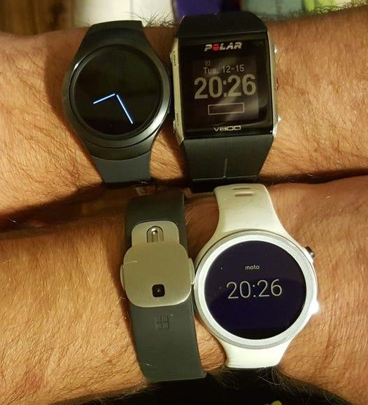 Gear S2, Polar V800, Microsoft Band 2, and Moto 360 Sport