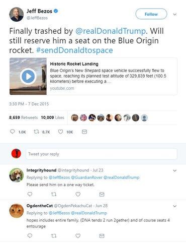 Bezon tweets at Trump
