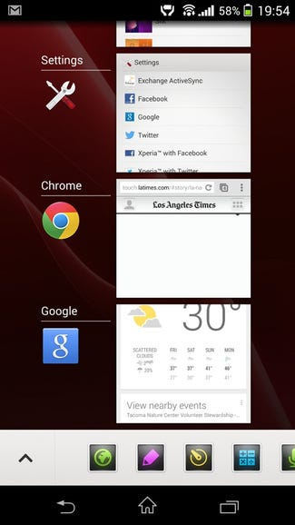 Task switcher with cool small apps launcher