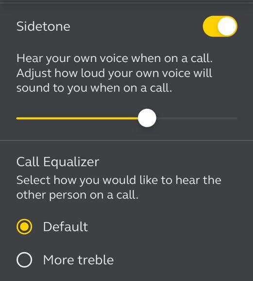 Sidetone settings