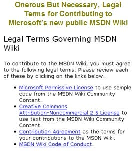 MSDN Wiki License for User Contribution