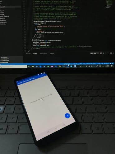 Flutter development; code running on a test OnePlus 5T