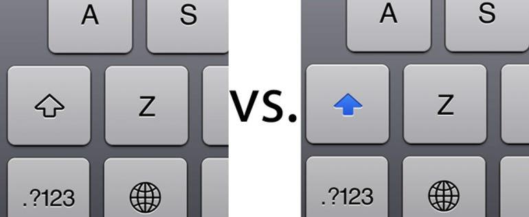 The shift key glowed blue when enabled in iOS 6 - Jason O'Grady