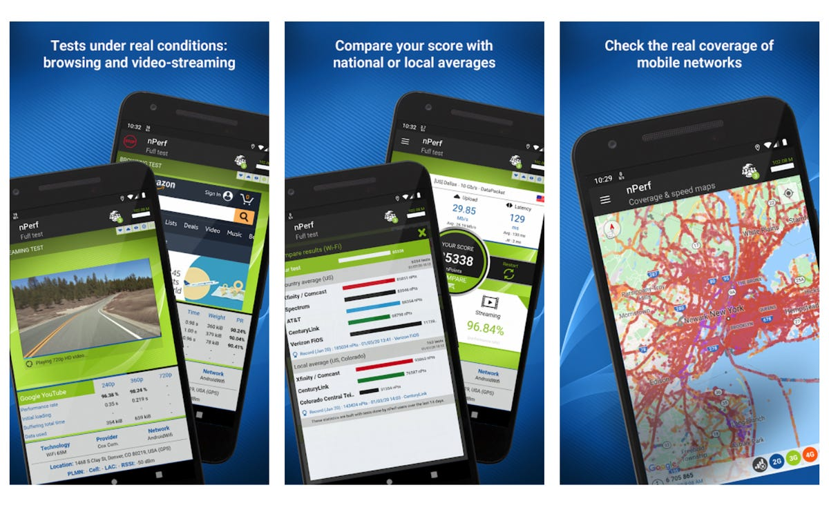 nPerf Speed test 3G, 4G, 5G, WiFi & network coverage map