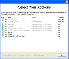 Firefox 8 Setup Screen