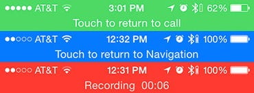 Double-height status bars for Calls, Navigation and Voice Memos in IOS 7 - Jason O'Grady