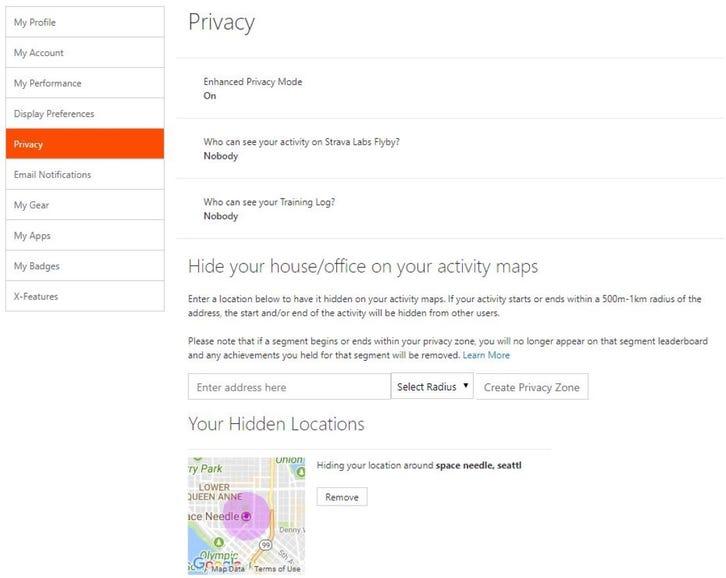 Strava privacy zone