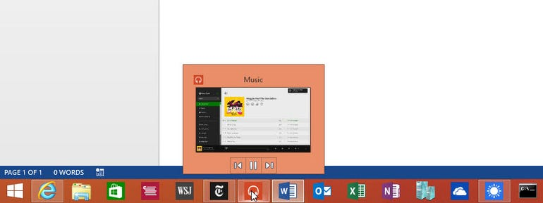 Previewing Windows Store apps from the taskbar