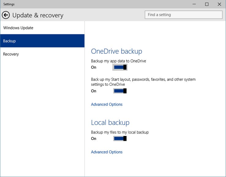 Backup and restore options